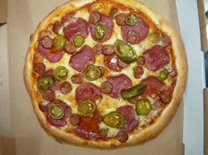 Diavola Pizza - homemade pizza sauce, mozzarella, pepperoni, hot sausage and jalapenos