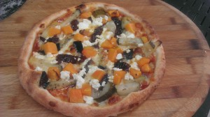 Pizza di Zucca (Vegetarian) - homemade pizza sauce, mozzarella, pumpkin, eggplant, sundried tomato, feta